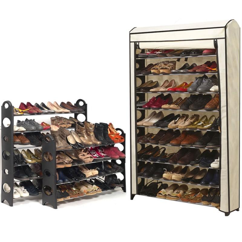 Etag re range chaussures 50 paires modulable housse crue for Housse pour etagere