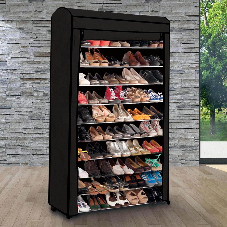 Etagere Range Chaussures 50 Paires Housse Grise Idmarket Rangement Et Organisation Rangement Pour Vetements Et Penderies