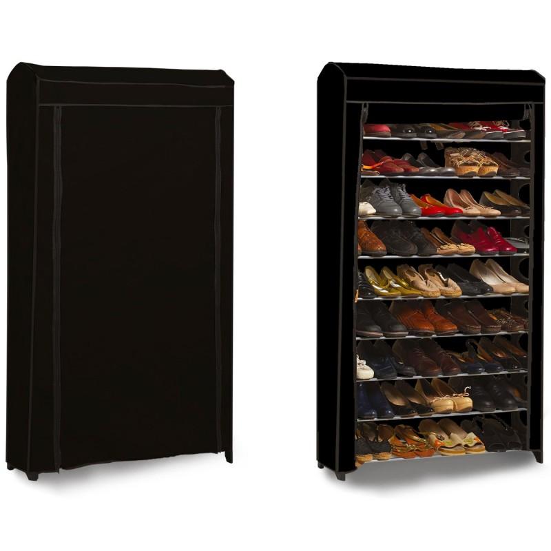 Etag re range chaussures 50 paires modulable housse noire for Housse pour etagere