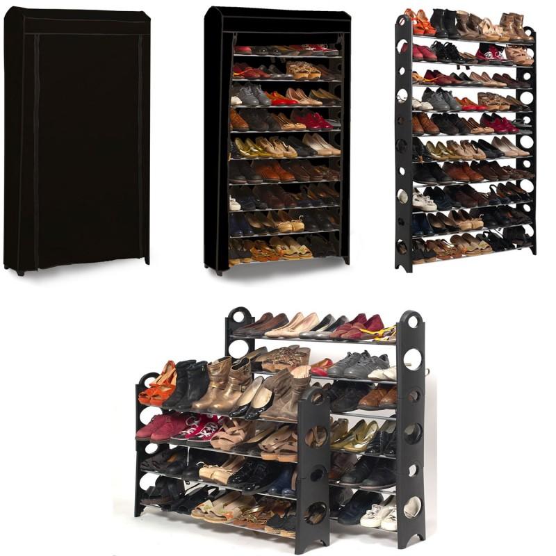etag re range chaussures 50 paires modulable housse noire meubles. Black Bedroom Furniture Sets. Home Design Ideas