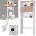 Meuble étagère wc ou machine à laver bois naturel et blanc