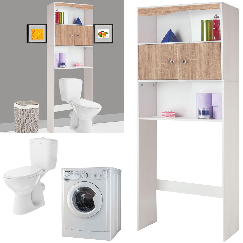Meuble Salle De Bain Pour Machine A Laver meuble étagère dessus wc bois coloris hêtre probache