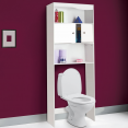 Meuble étagère wc ou machine à laver bois blanc H.178 cm