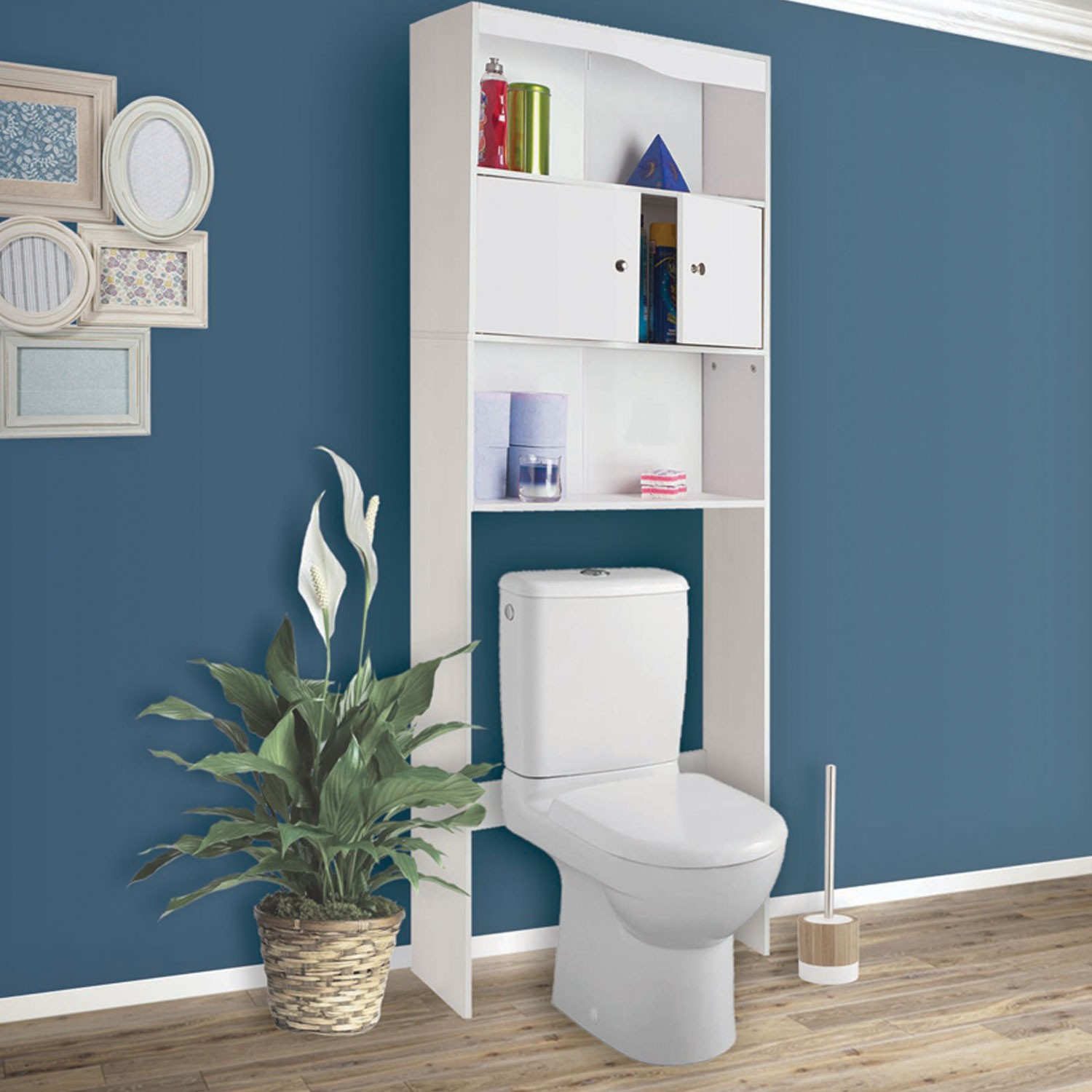 idmarket meuble wc tag re bois blanc et gris gain de place pour toilettes 3 portes www. Black Bedroom Furniture Sets. Home Design Ideas
