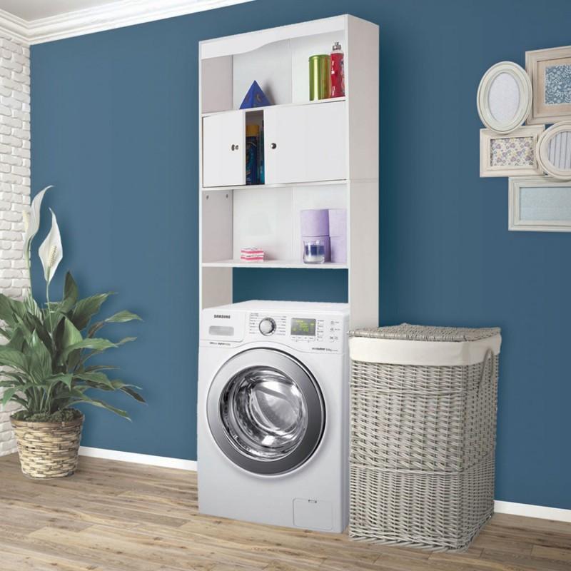 Meuble tag re dessus wc bois coloris blanc meubles et for Meuble pour machine a laver