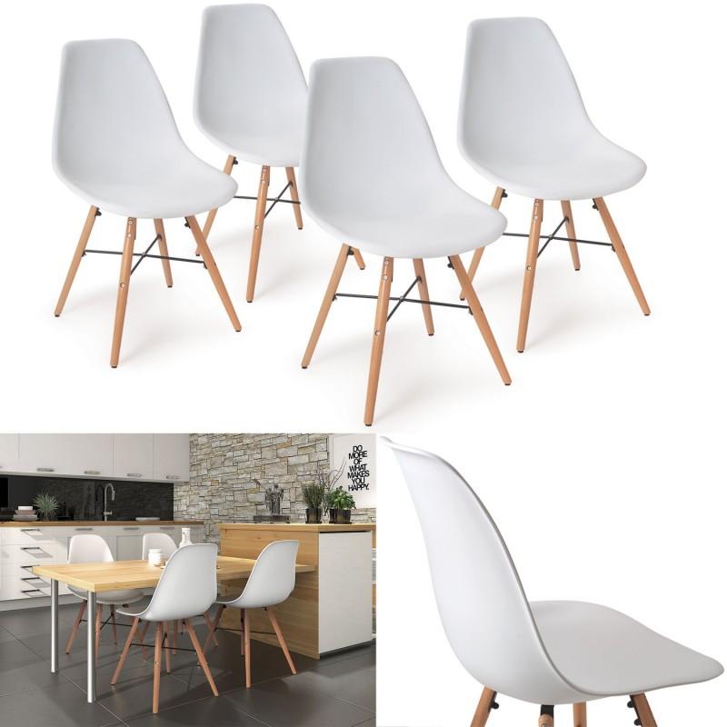 Chaise blanche pied en bois meilleures images d - Chaise blanche pied bois ...
