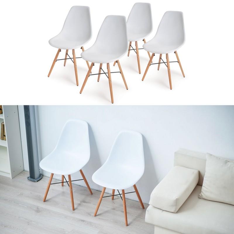 chaise blanche pied en bois chaise de salle manger blanche avec pieds de style dsw en bois. Black Bedroom Furniture Sets. Home Design Ideas