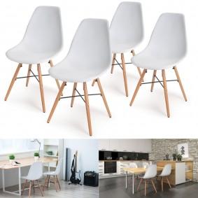 Chaise design blanche 4 pieds bois lot de 4