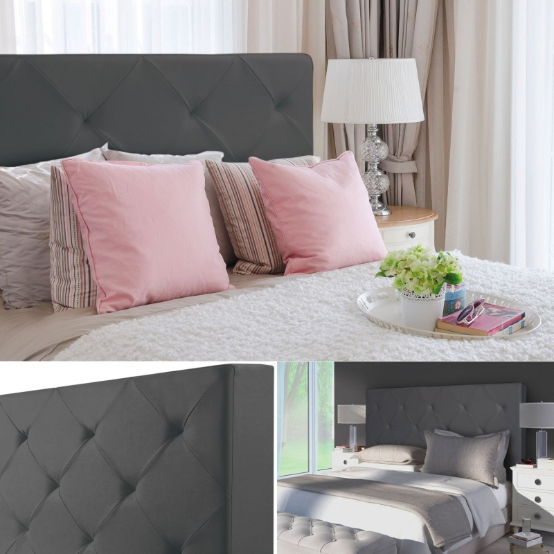 t te de lit capitonn e pvc gris 160x58 cm imprim 14. Black Bedroom Furniture Sets. Home Design Ideas