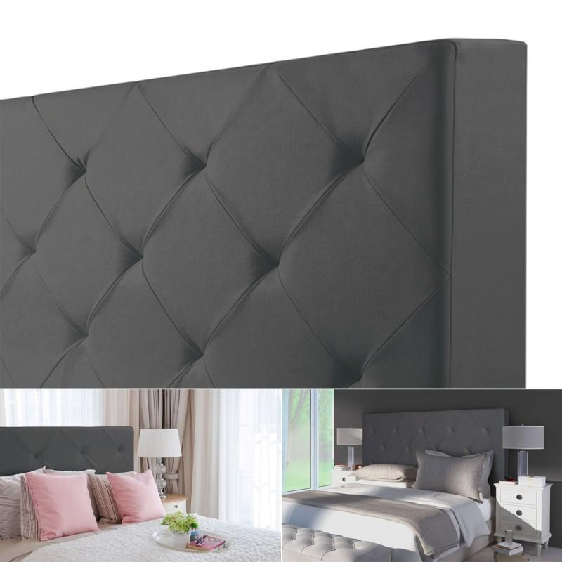 tête de lit capitonnée pvc gris 160x60 cm imprimé 14 boutons meubl