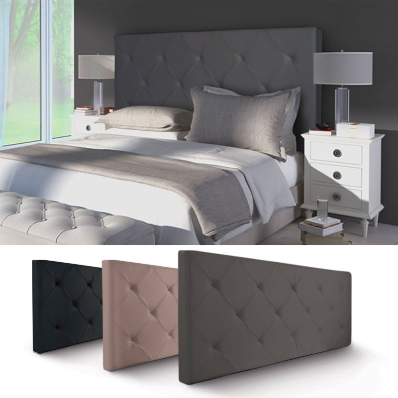 t te de lit capitonn e pvc gris 160x58 cm imprim 14 boutons meubl. Black Bedroom Furniture Sets. Home Design Ideas