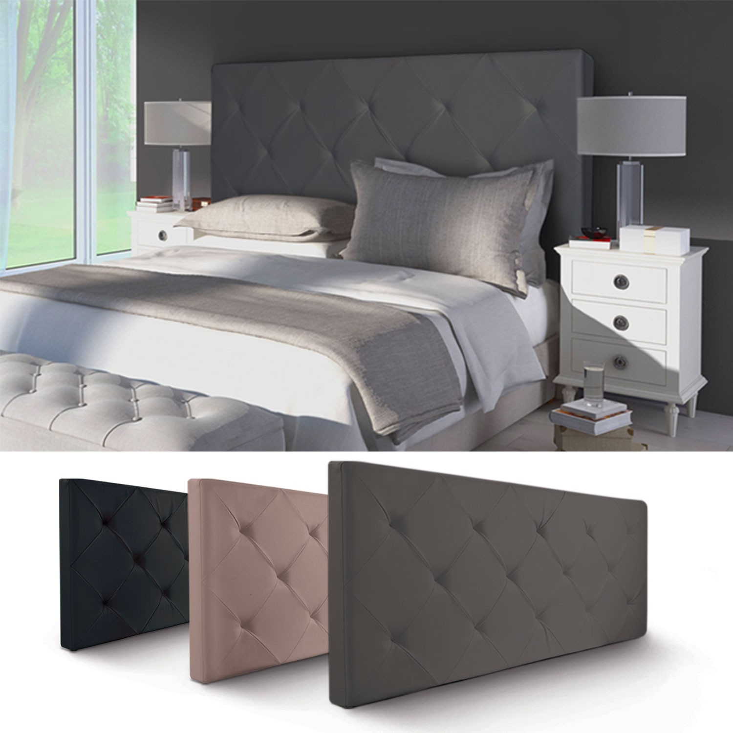 tete de lit simili cuir gris maison design. Black Bedroom Furniture Sets. Home Design Ideas