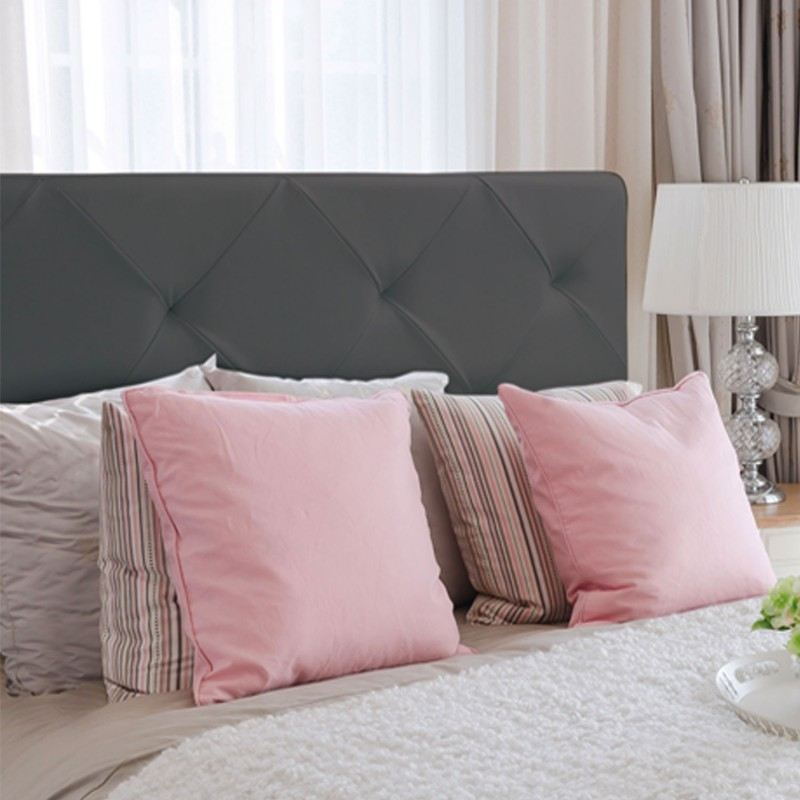t te de lit capitonn e pvc gris 160x60 cm imprim 14 boutons meubl. Black Bedroom Furniture Sets. Home Design Ideas