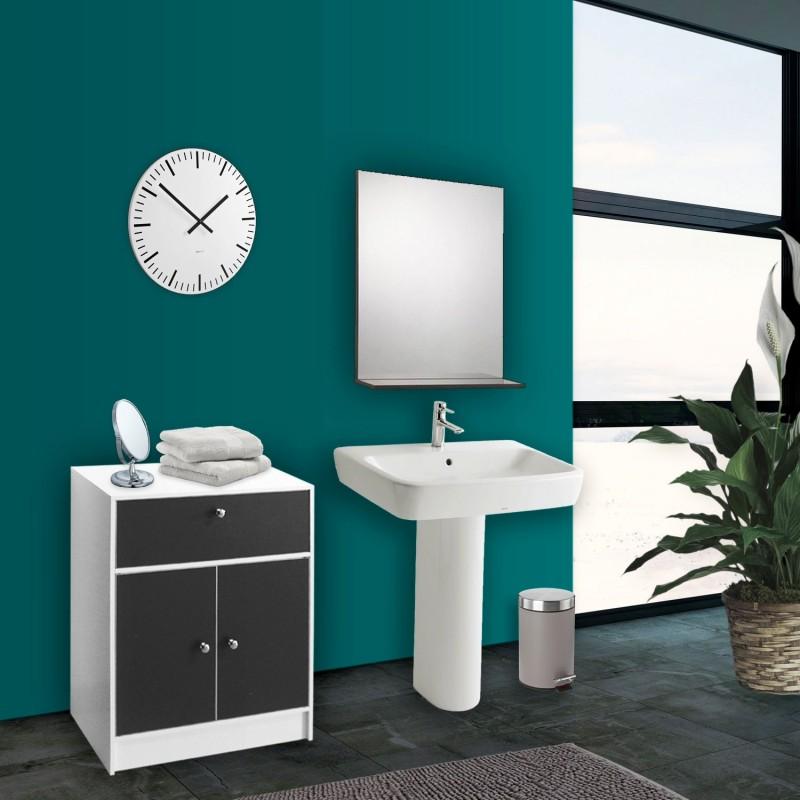 Meuble bas de salle de bain blanc et gris commode de rangement - Meuble salle de bain gris ...