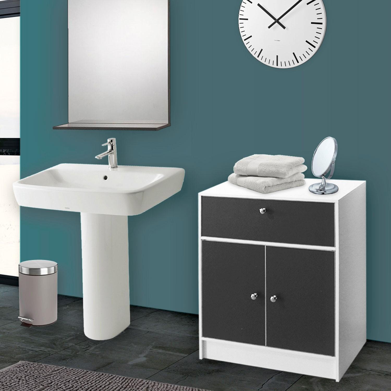 Meuble Bas De Salle De Bain Blanc Et Gris Commode De Rangement Meu - Meuble rangement salle de bain