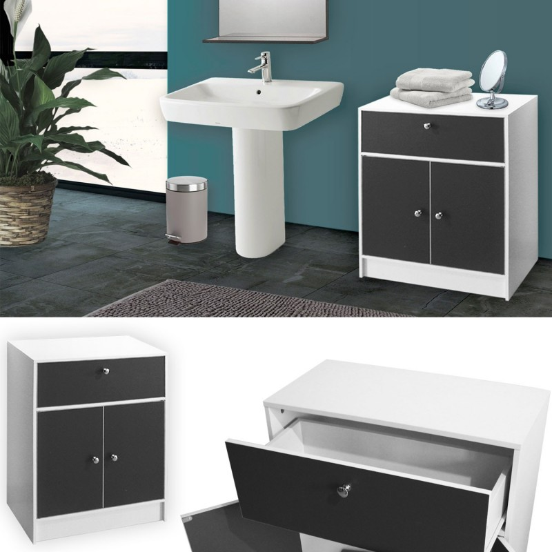 meuble bas de salle de bain blanc et gris commode de rangement meu. Black Bedroom Furniture Sets. Home Design Ideas