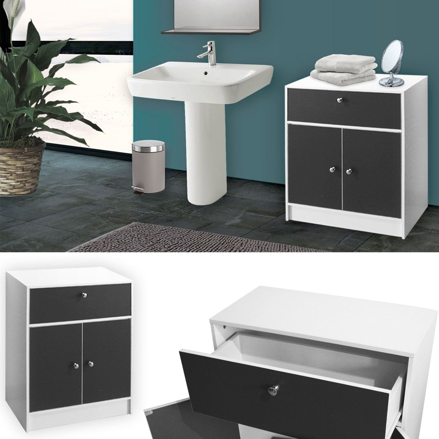 meuble bas de salle de bain blanc et gris commode de. Black Bedroom Furniture Sets. Home Design Ideas