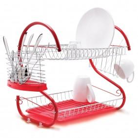 Egouttoir vaisselle chrome et rouge double niveaux