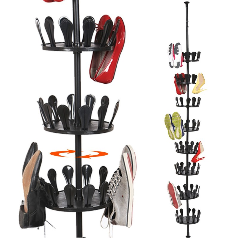 Carrousel chaussures t lescopique rangement 48 paires - Meuble chaussure rond ...