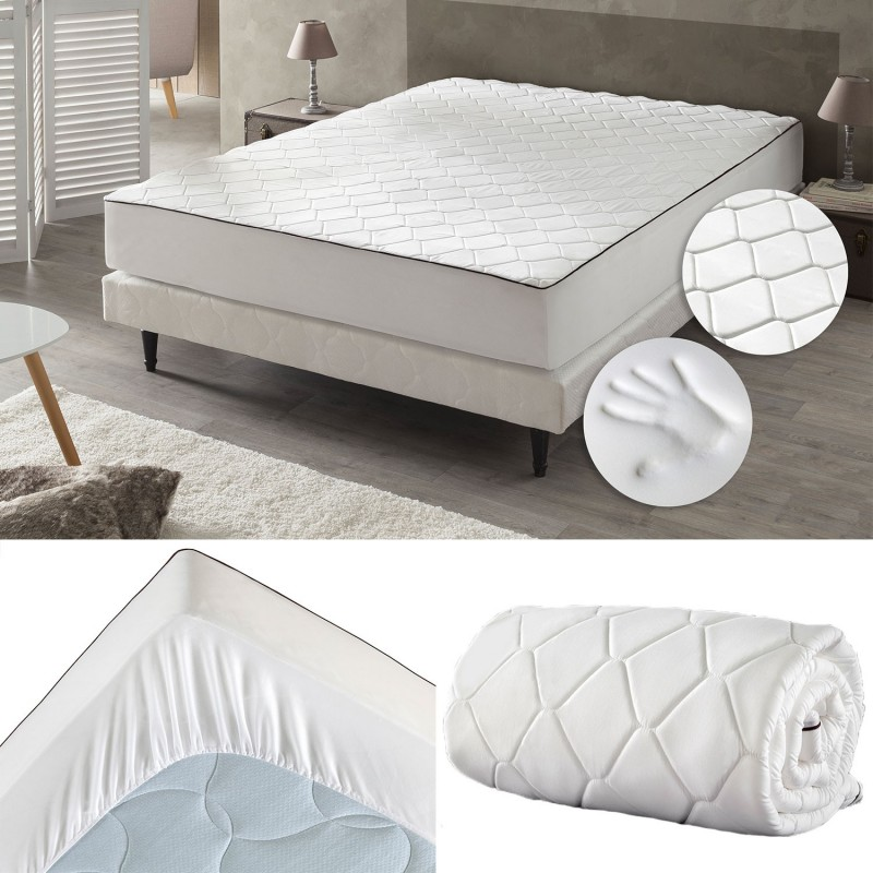 drap housse m moire de forme 140x190 cm surmatelas mousse confort. Black Bedroom Furniture Sets. Home Design Ideas