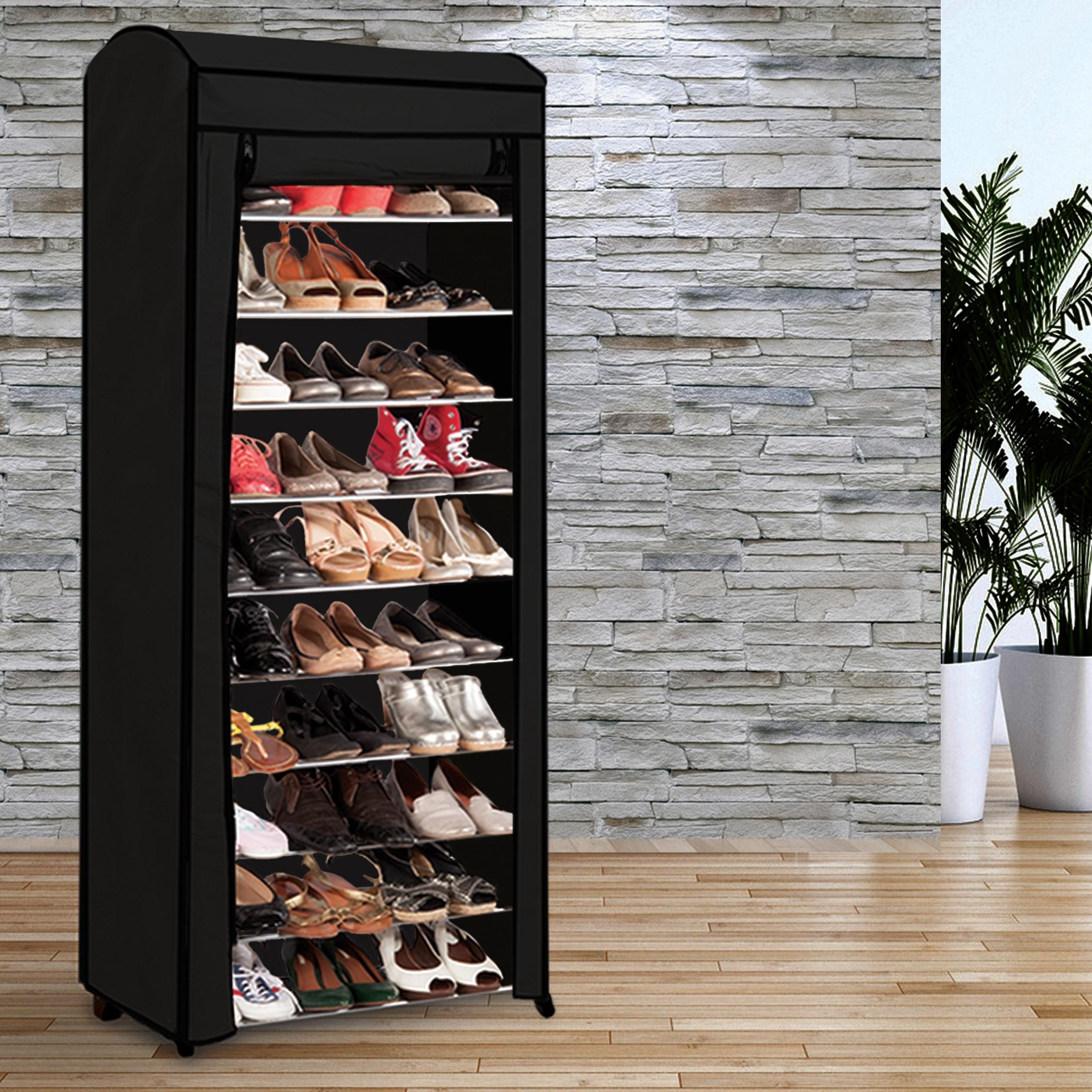 Etag re range chaussures 30 paires eco avec sa housse noire - Meuble chaussure 40 paires ...