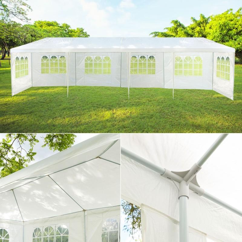 chapiteau 3x12m tente de r ception blanche tonnelle avec 8 c t s. Black Bedroom Furniture Sets. Home Design Ideas