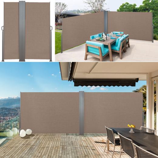 Paravent double rétractable 600 x 160 cm store taupe latéral