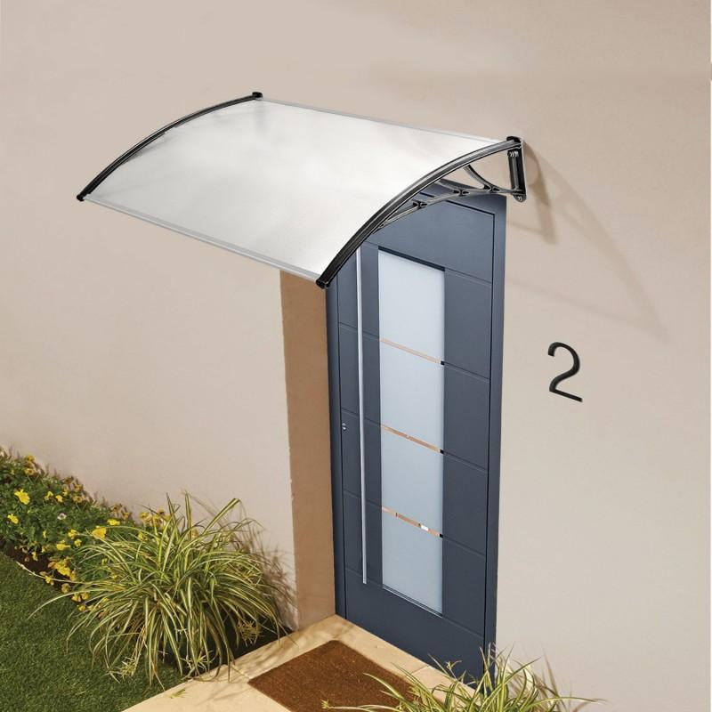 Auvent de porte marquise d 39 accueil 80x150 cm polycarbonate for Comauvent de porte de garage