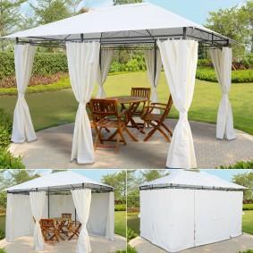 Tonnelle de jardin avec rideaux écrus 3x4x2,58 m
