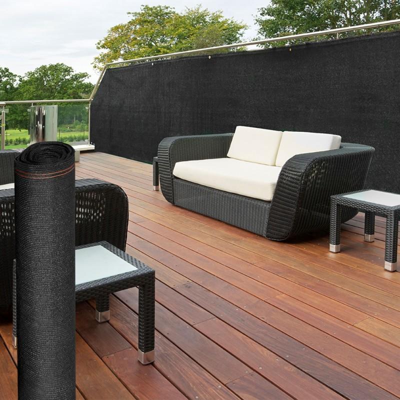 brise vue renforc 1 5 x 10 m noir 220 gr m luxe pro brise vues e. Black Bedroom Furniture Sets. Home Design Ideas