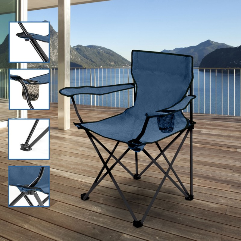 fauteuil camping pliant bleu avec housse paravent et am nagement e. Black Bedroom Furniture Sets. Home Design Ideas