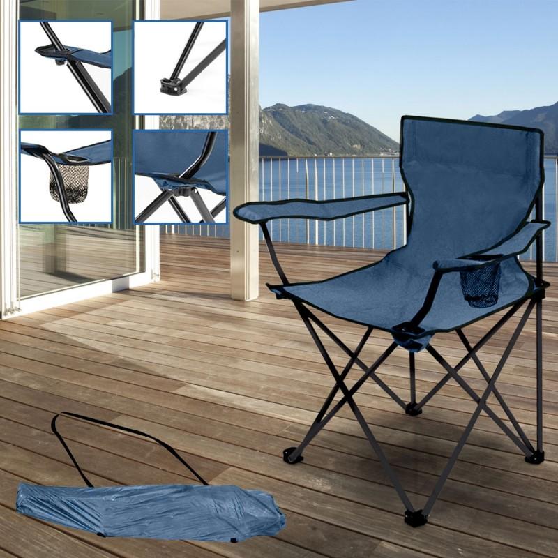 Fauteuil camping pliant bleu avec housse piscine et jeux - Fauteuil camping pliant ...
