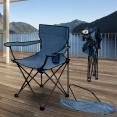 Fauteuil camping pliant bleu avec housse