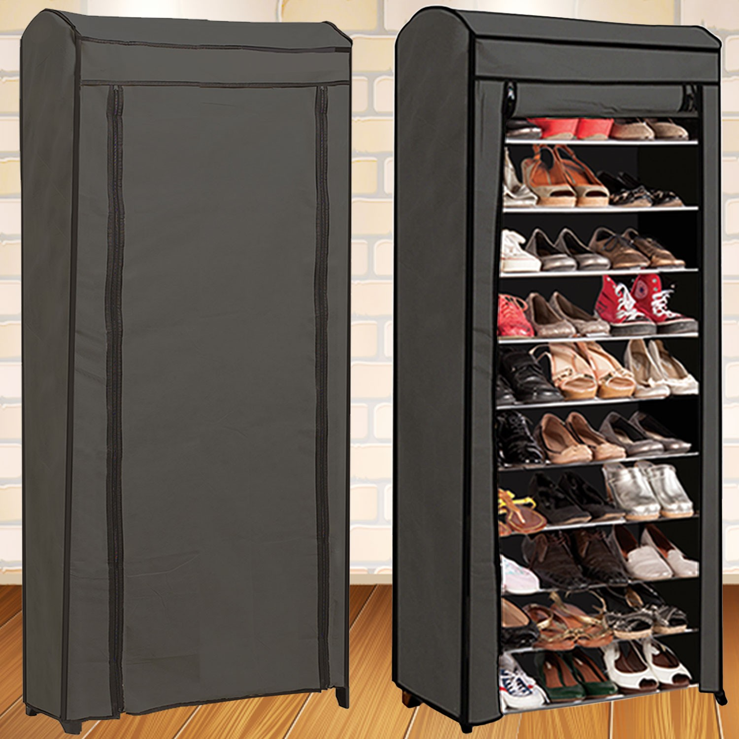 tag re range chaussures 30 paires eco avec housse grise meubles e. Black Bedroom Furniture Sets. Home Design Ideas