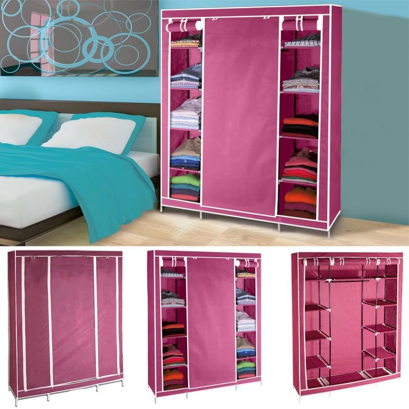 Armoire de rangement bordeaux dressing penderie xxl tissu meubles - Grande armoire dressing ...