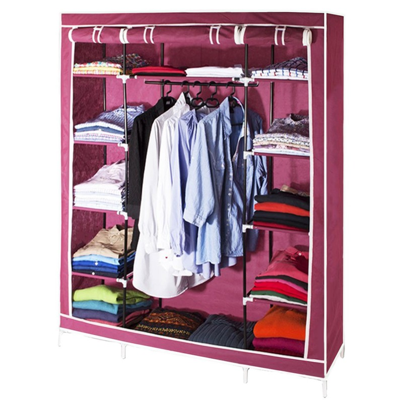 armoire de rangement bordeaux dressing penderie xxl tissu meubles. Black Bedroom Furniture Sets. Home Design Ideas