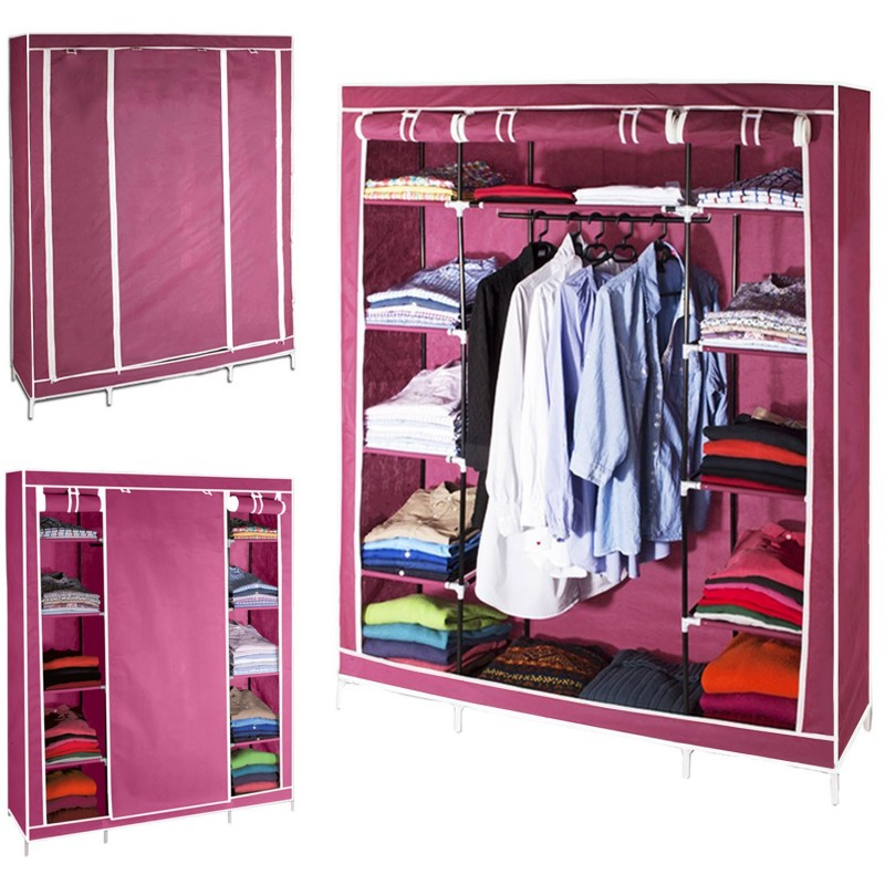 armoire de rangement bordeaux dressing penderie xxl tissu. Black Bedroom Furniture Sets. Home Design Ideas
