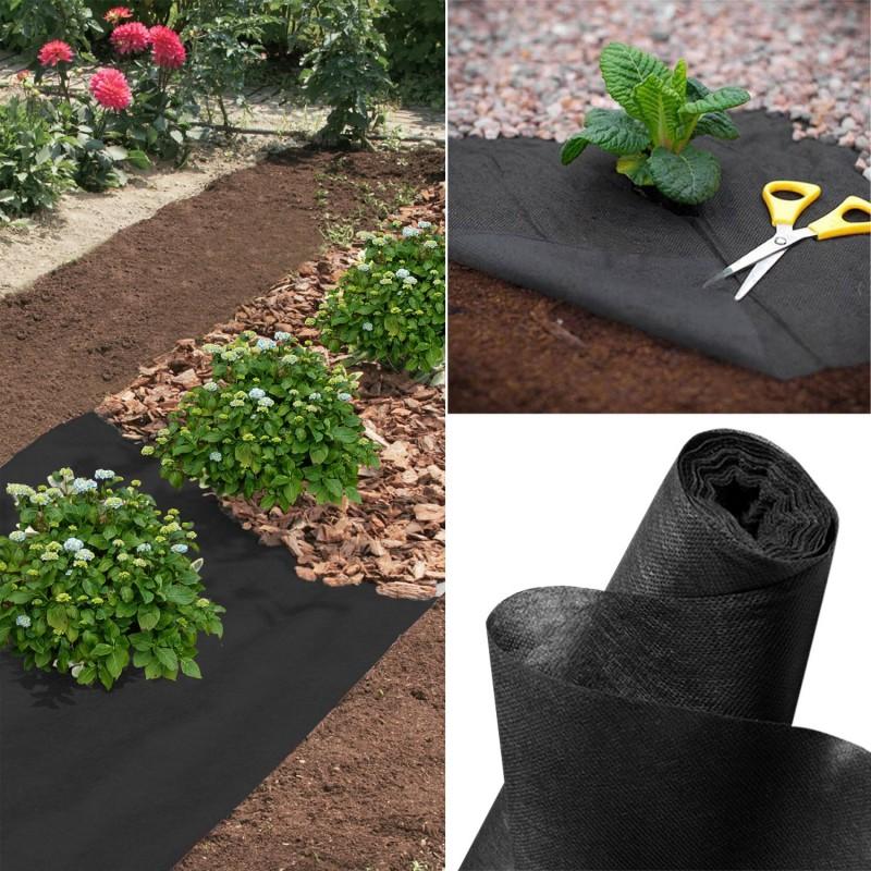 feutre toile de paillage 1m x 15 m noir ebay. Black Bedroom Furniture Sets. Home Design Ideas