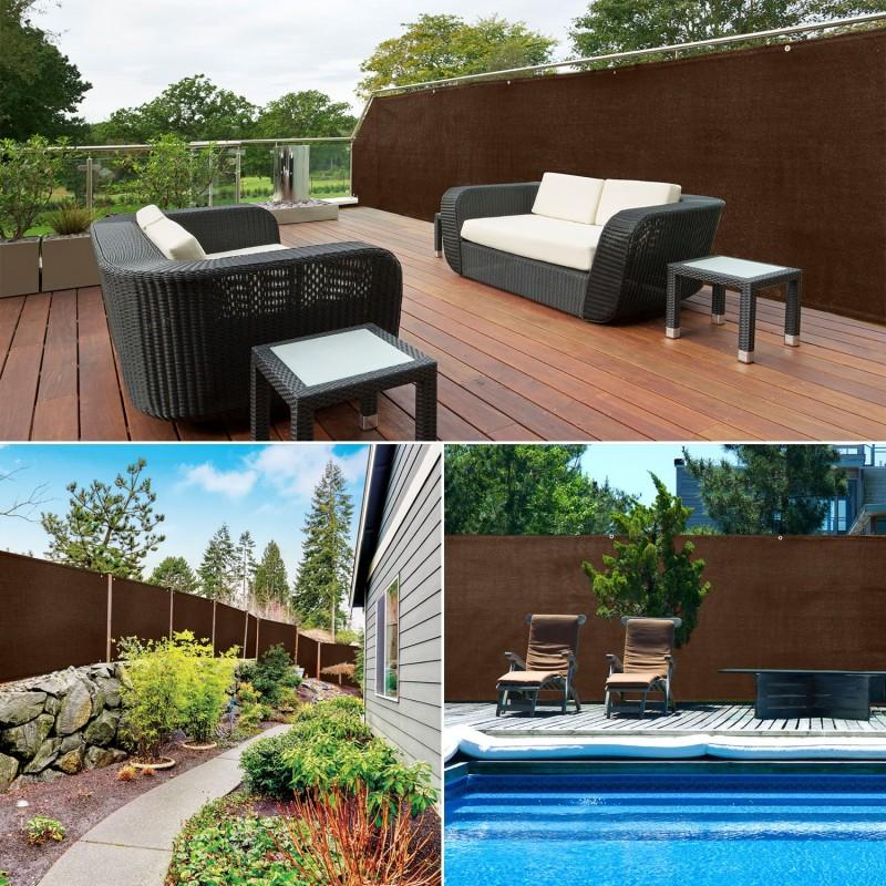 brise vue renforc 1 x 10 m marron 220 gr m luxe pro brise vues e. Black Bedroom Furniture Sets. Home Design Ideas