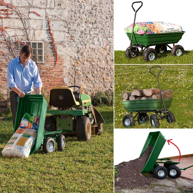 Chariot remorque de jardin vert basculant Chariots et ...