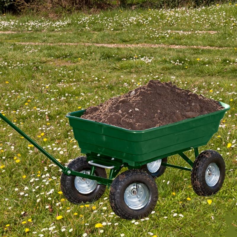 Chariot remorque de jardin vert basculant chariots et for Remorque de jardin 4 roues