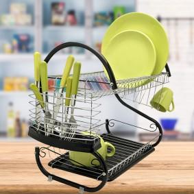 Egouttoir vaisselle inox et noir double niveaux