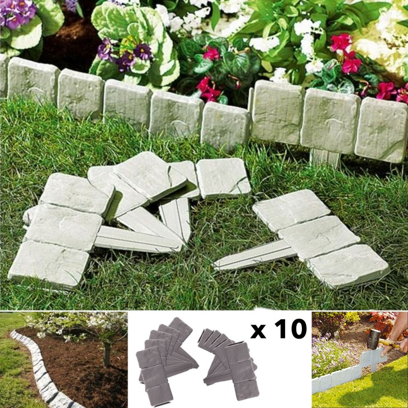 Bordurette de jardin imitation pierre x10 pi ces eclairage - Pierre decorative exterieure jardin ...