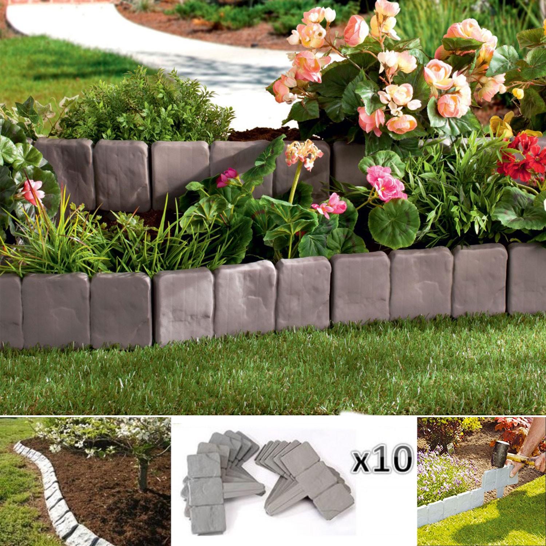 Bordurette de jardin imitation pierre x10 pi ces eclairage for Pierre decoration jardin