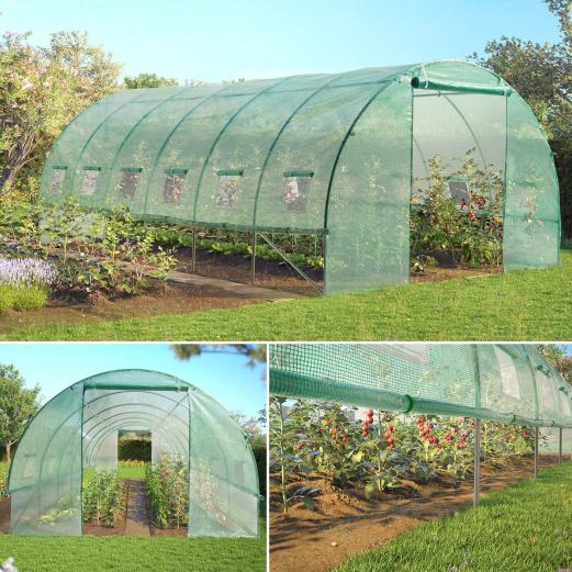 Grande serre de jardin tunnel toutes saisons 18 m² 180gr/m² verte ...