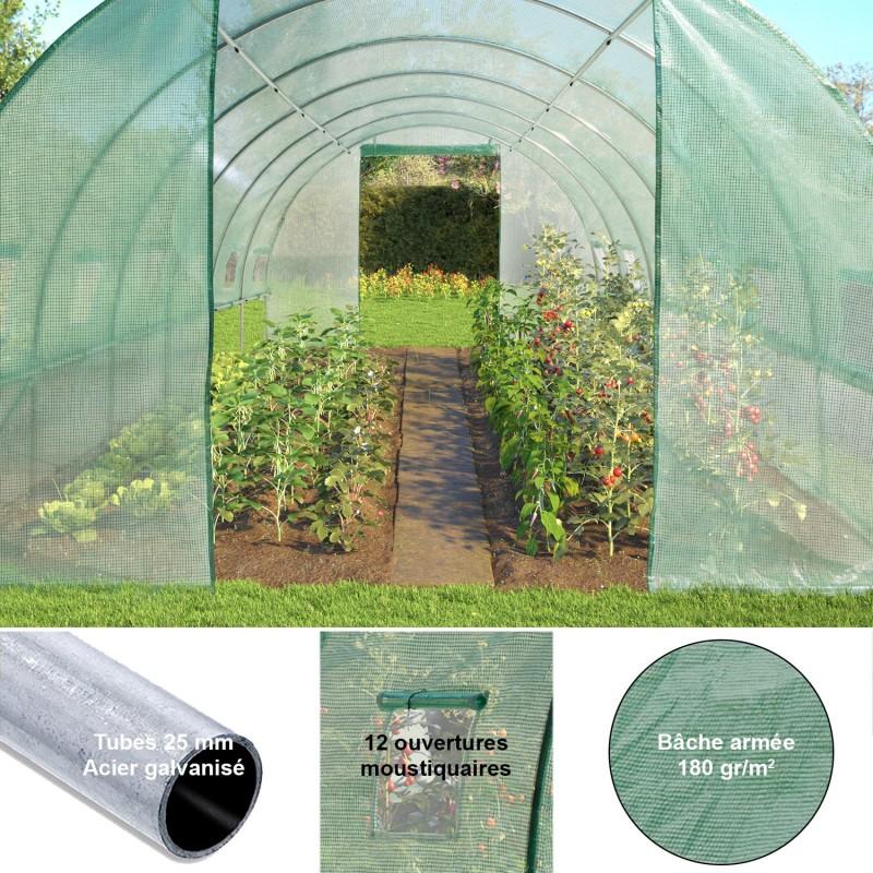 Grande serre de jardin tunnel toutes saisons 18 m² 180gr/m² ...