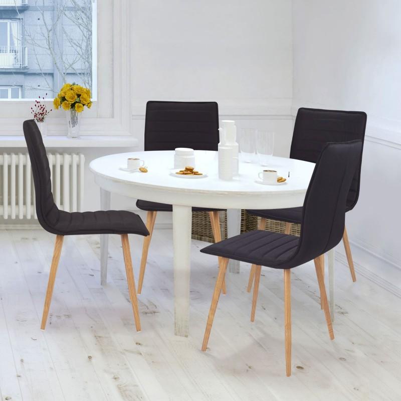 Chaises x4 polga capitonn es tissu noir pour salle for Chaises salle manger capitonnees