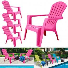 Fauteuil chaise de jardin confort lot X4 rose