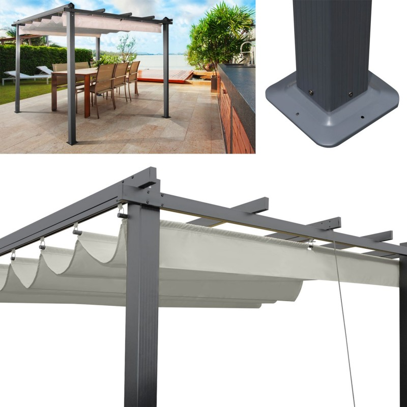 pergola toit r tractable crue tonnelle 4 pieds 3x3m ebay. Black Bedroom Furniture Sets. Home Design Ideas