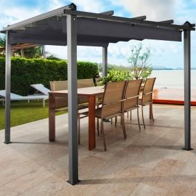 Pergola 4 pieds 3x4m tonnelle avec toit rétractable gris